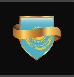 Kazakhstan flag golden badge design vector