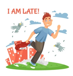 Late teenager running to school vector