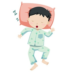 Little boy in pajamas sleeping vector