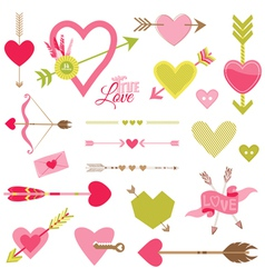 Love Heart and Arrows Set - for Valentines Day vector image