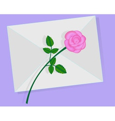 Love letter with pink rose over it vector image