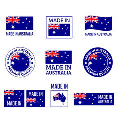 made in australia labels set made in commonwealth vector image