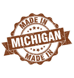 made in michigan round seal vector image