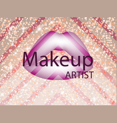 Make up abstract gift card with purple lips vector