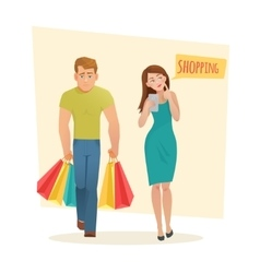 Man and woman with shopping bags vector
