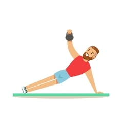 Man Doing Plank Exercise With Additional Weight vector image