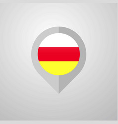 Map navigation pointer with south ossetia flag vector