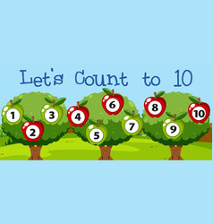 math couting apple to ten vector image