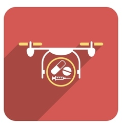 Medication Quadcopter Flat Rounded Square Icon vector
