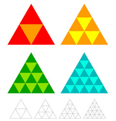 mosaic triangle elements with wireframe grid vector image