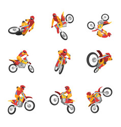 motorcyclist driving motorcycle set motocross vector image