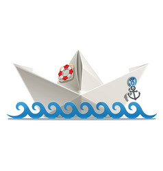 Paper ship origami vector
