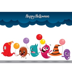 Parade Of Monsters Funny Halloween Party vector image