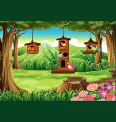 Park scene with birds in birdhouse vector
