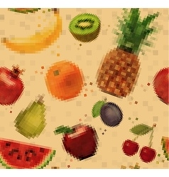 Pattern pixel fruits kraft vector