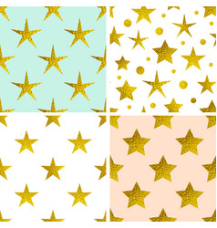 patterns with golden stars vector image