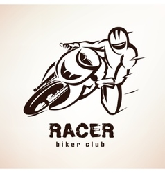 Racer sport bike symbol motorcycle emblem vector
