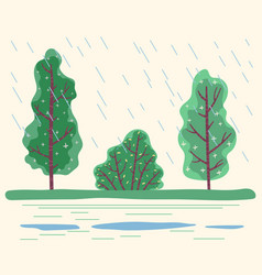 Raining in forest bad weather conditions in park vector