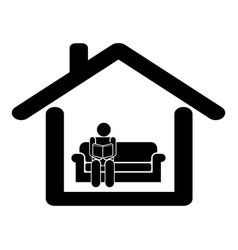 read at home quarantine pictograph depicting man vector image