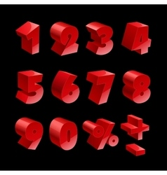 Red shiny 3d thick numbers isolated font on black vector