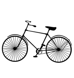 Retro old victorian bicycle silhouette isolated vector