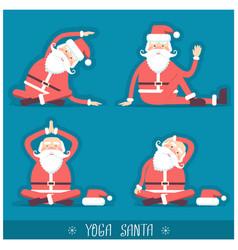Santa claus doing yoga isolated christmas card vector
