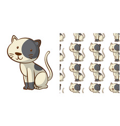 seamless background design with cute cat vector image