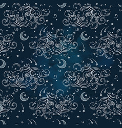 seamless pattern with moons and clouds vector image vector image