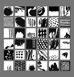 set abstract black and white artistic vector image