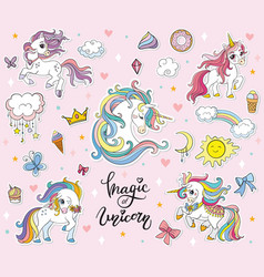 set funny cartoon unicorns vector image