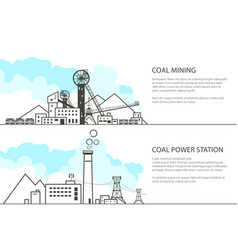 set of banners with mining and power station vector image