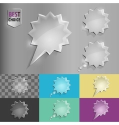 Set of glass speech bubble starburst icons with vector