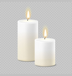 Set realistic white candles with fire vector