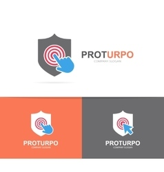 Shield and click logo combination security vector