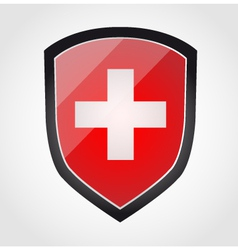 Shield with flag inside - Swiss vector