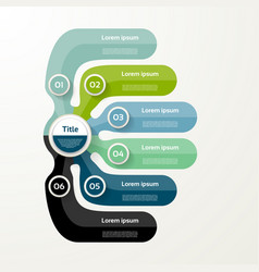 Six elements banner 6 steps design chart vector