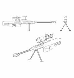 Sniper gun outline only vector