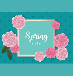 Spring sale banner with flowers vector