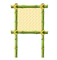 Square bamboo frame with wicker background vector image