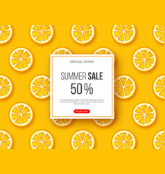 summer sale banner with sliced orange pieces and vector image