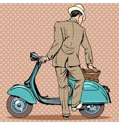 The man gets a scooter vector