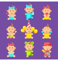 Toddlers And Babies Sticker Set vector