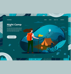 Tourist girl with backpack night camping vector