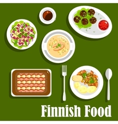 Traditional finnish cuisine flat icon vector