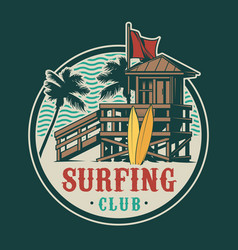 vintage surfing time label vector image