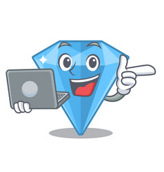 With laptop sapphire gems isolated in the vector