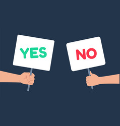 yes and no signs banner in human hand people vector image