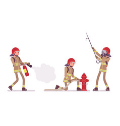 Young male firefighter at duty vector