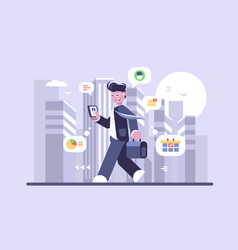 young man working on run flat poster vector image
