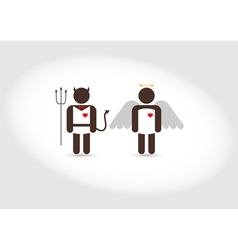 Angel and devil good and evil vector